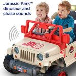 Jurrasic Park Jeep toy featuring two kids that look happy