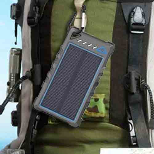 Solar USB charger on a backpack