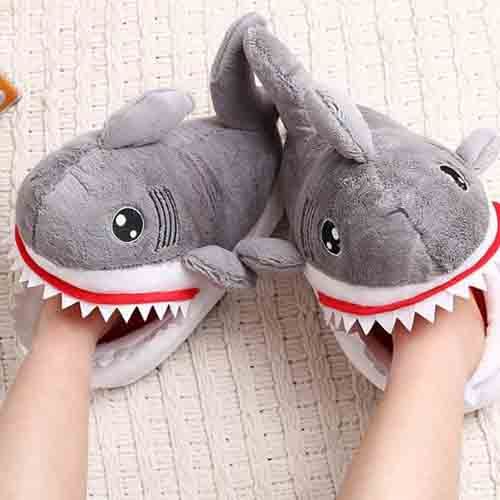 Shark slippers that look like they are eating feat