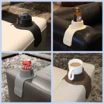 differenit drink holders holding tea, cofee and beer