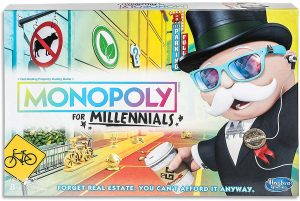 Colorful image of a board game called monopoly for millenials