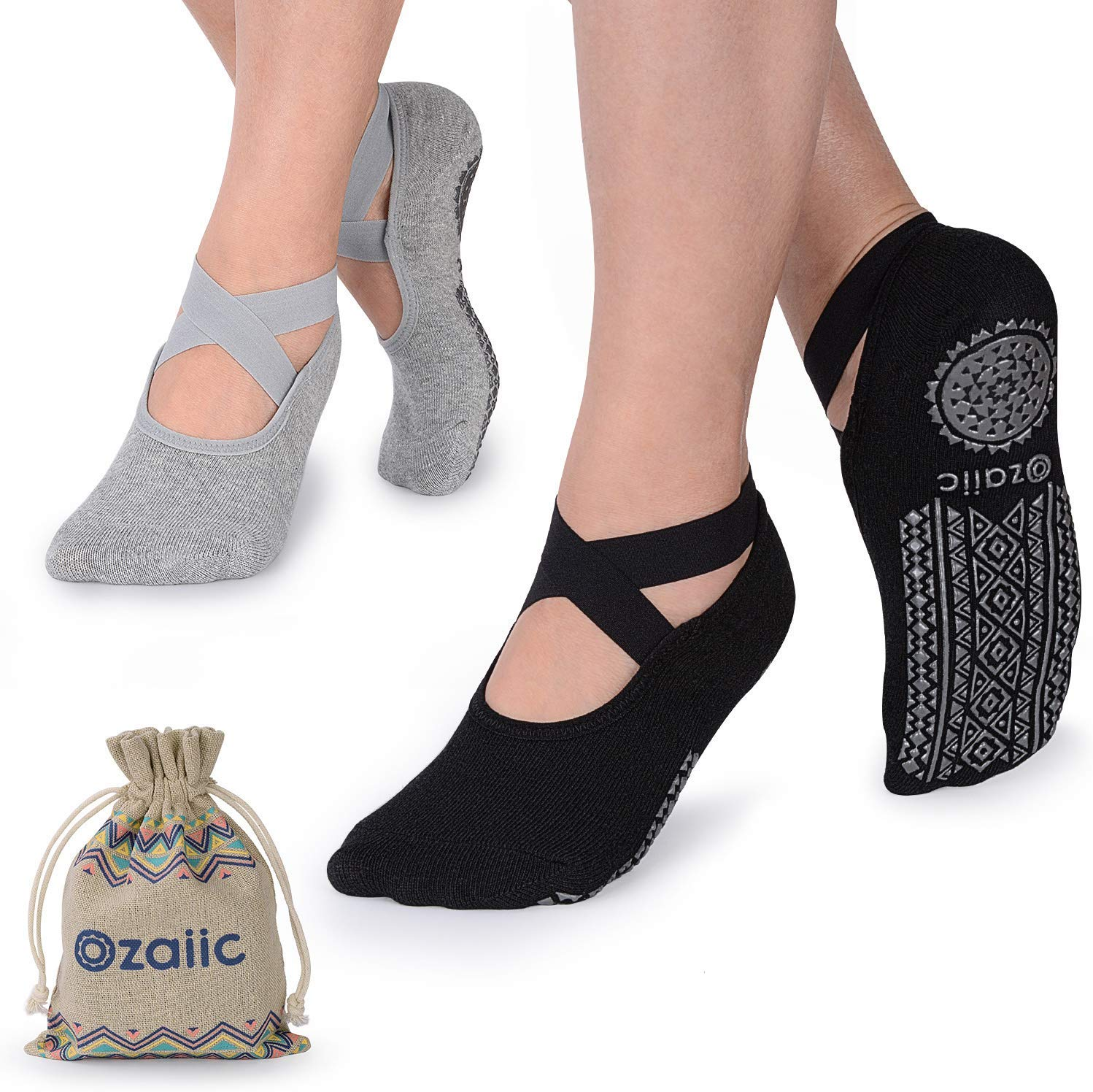 non slip yoga socks in black and grey